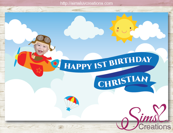 AIRPLANE PARTY BACKDROP BANNER | AVIATOR PILOT BIRTHDAY BACKDROP | CUSTOM PHOTO