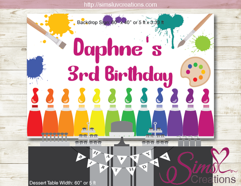 ART PARTY PRINTABLE BACKDROP BANNER | PAINT BIRTHDAY BACKDROP