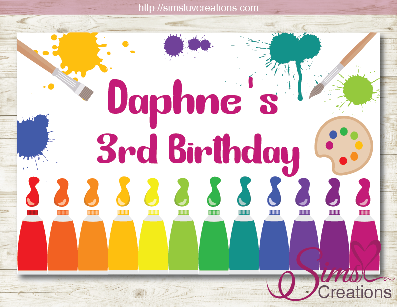 photo relating to Printable Backdrop named Artwork Occasion PRINTABLE BACKDROP BANNER PAINT BIRTHDAY BACKDROP
