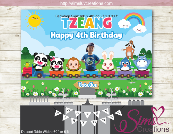 BABYBUS PRINTABLE PARTY BACKDROP BANNER | BABY PANDA BIRTHDAY POSTER