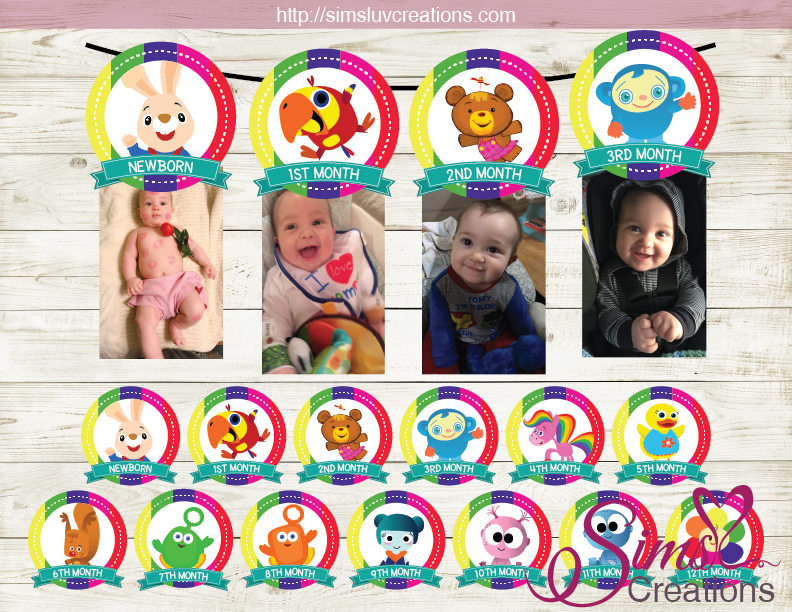 BABYFIRST TV THEME PRINTABLE MONTHLY PHOTO BANNER | FIRST BIRTHDAY MONTHLY PHOTO BADGES
