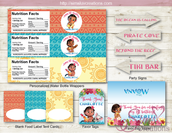 BABY MOANA PARTY PRINTABLES KIT | MOANA TROPICAL BIRTHDAY DECORATION KIT