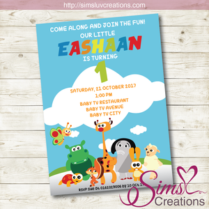 BABY TV BIRTHDAY PRINTABLE INVITATION