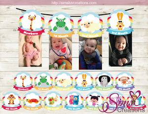BABY TV THEME PRINTABLE MONTHLY PHOTO BANNER | FIRST BIRTHDAY MONTHLY PHOTO BADGES