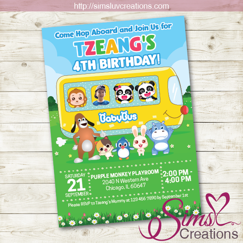 BABYBUS BIRTHDAY INVITATION | BABY PANDA PARTY INVITATION | CUSTOM PHOTO