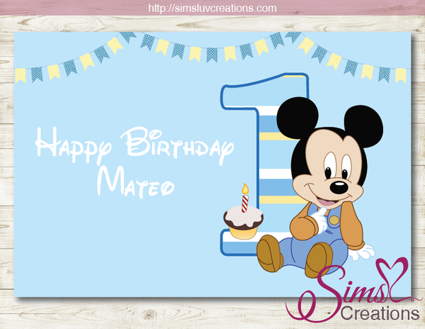 DISNEY BABY MICKEY MINNIE PRINTABLE BACKDROP BANNER | BIRTHDAY BACKDROP
