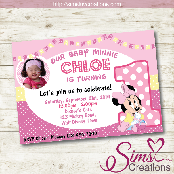 DISNEY BABY MINNIE BIRTHDAY PRINTABLE INVITATION | PARTY INVITATION | CUSTOM PHOTO