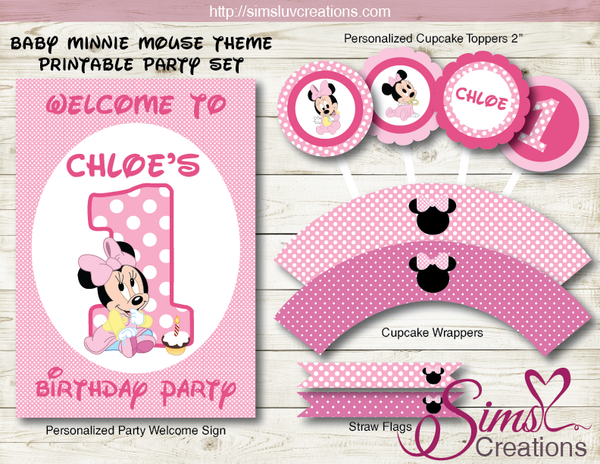 DISNEY BABY MICKEY THEME PARTY SUPPLIES | BABY MINNIE PARTY PRINTABLES DECORATION KIT