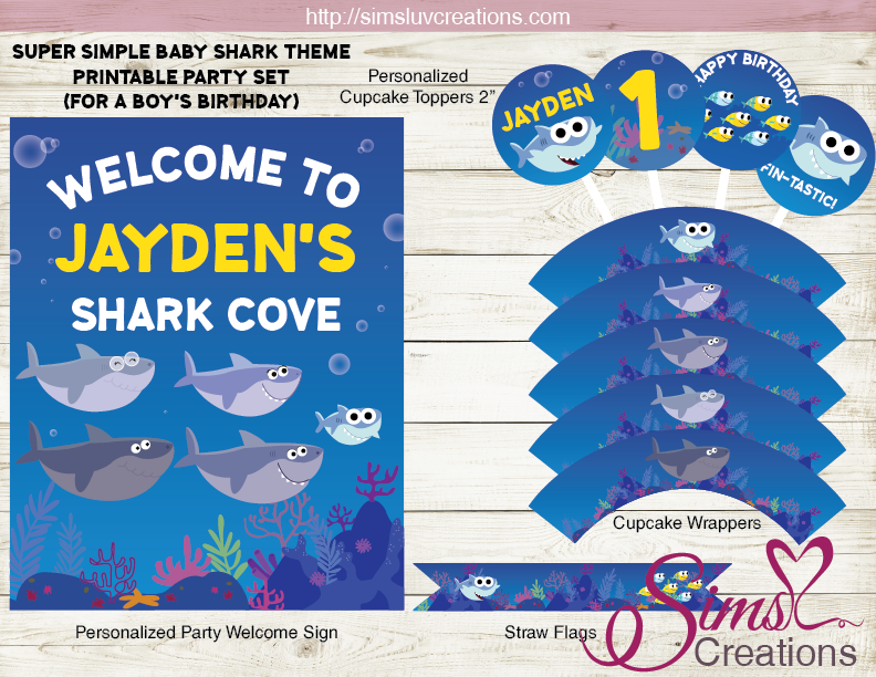 SUPER SIMPLE BABY SHARK PARTY SUPPLIES | SHARK PARTY PRINTABLES