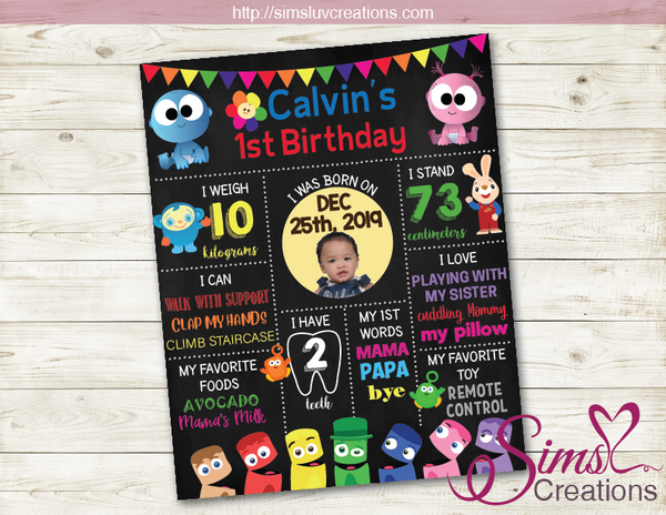 BABYFIRST TV MILESTONE POSTER | BIRTHDAY CHALKBOARD | CUSTOM PHOTO