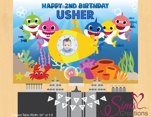 BABY SHARK THEME PRINTABLE BACKDROP BANNER | CUSTOM PHOTO
