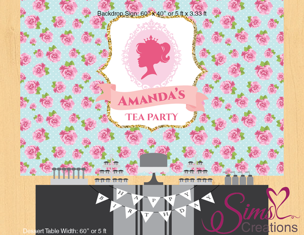 PRINCESS TEA PARTY PRINTABLE BACKDROP BANNER | PRINCESS THEME PARTY POSTER