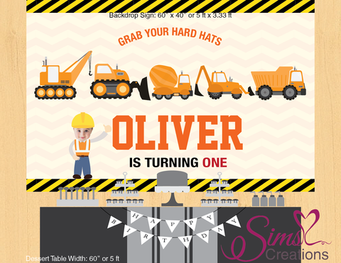 CONSTRUCTION THEME PRINTABLE BACKDROP BANNER | CUSTOM PHOTO