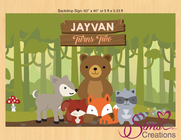 WOODLAND ANIMALS THEME PRINTABLE BACKDROP BANNER | WOODLAND BIRTHDAY PARTY POSTER