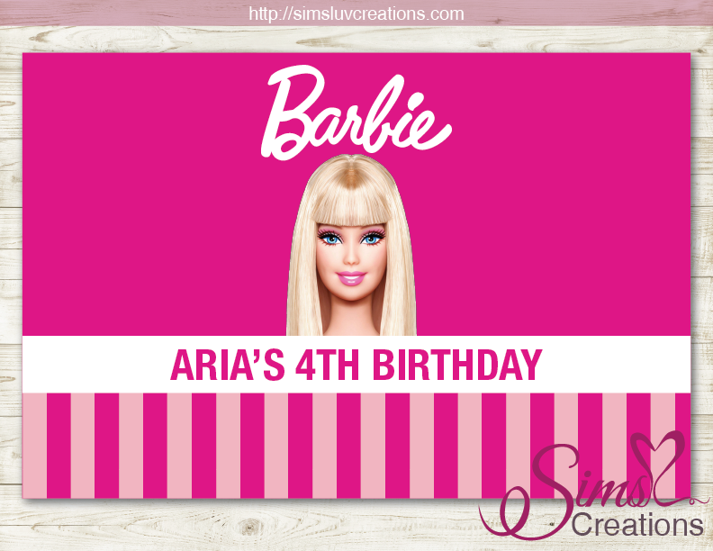 BARBIE THEME PRINTABLE BACKDROP BANNER | BIRTHDAY POSTER PRINTABLE
