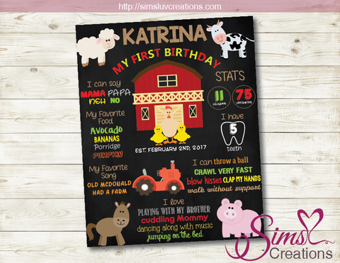 BARNYARD BIRTHDAY MILESTONE BOARD | FARM PARTY CHALKBOARD POSTER