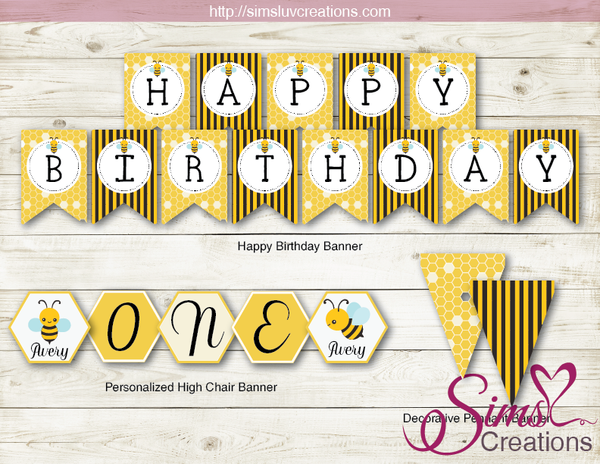 BUMBLEBEE PARTY KIT | HONEY BEE THEME PARTY PRINTABLES