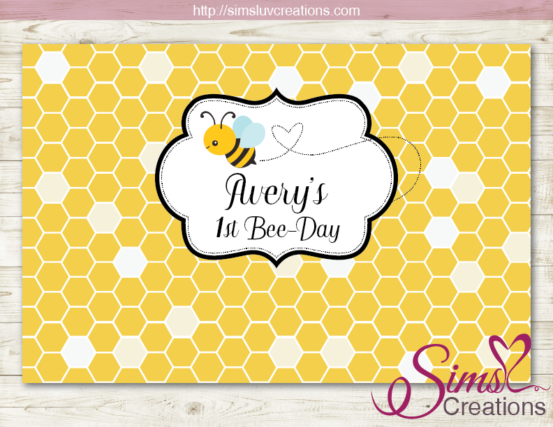 HONEY BEE PRINTABLE PARTY BACKDROP BANNER | BUMBLEBEE BIRTHDAY POSTER