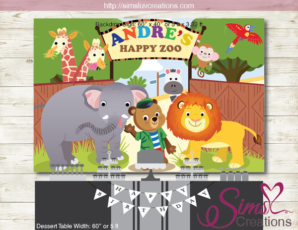 BIZZY BEAR ZOO RANGER PRINTABLE BACKDROP BANNER | JUNGLE SAFARI BIRTHDAY BACKDROP