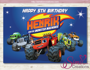 BLAZE AND THE MONSTER MACHINES PARTY BACKDROP BANNER | MONSTER TRUCKS BIRTHDAY BACKDROP | CUSTOM PHOTO