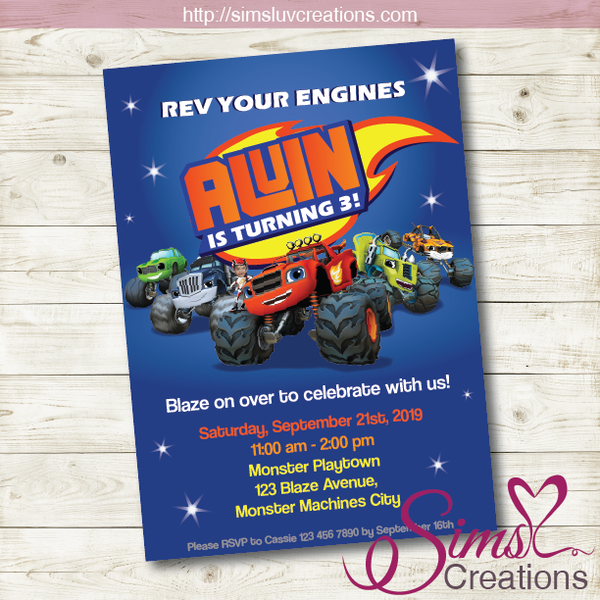 BLAZE AND THE MONSTER MACHINES BIRTHDAY INVITATION | MONSTER TRUCKS PARTY INVITE | CUSTOM PHOTO