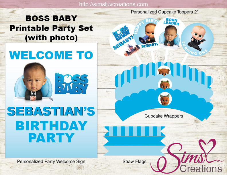 Boss Baby Party Printables Kit Boss Baby Birthday Decoration Kit Sims Luv Creations