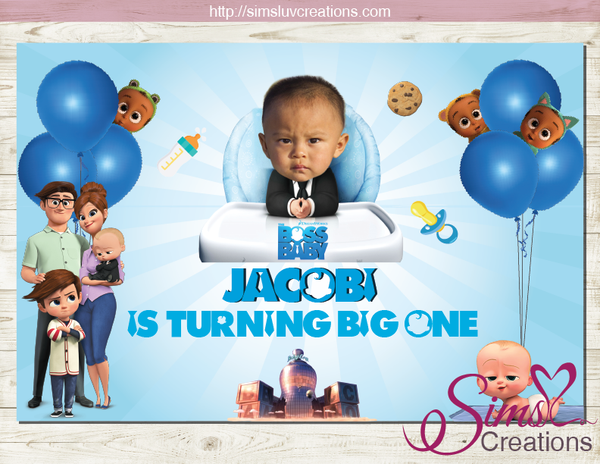 BOSS BABY PRINTABLE BIRTHDAY BACKDROP BANNER | BIRTHDAY POSTER | BABY PHOTO