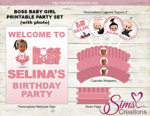 BOSS BABY STACI PARTY PRINTABLES KIT | BOSS BABY GIRL BIRTHDAY DECORATION KIT