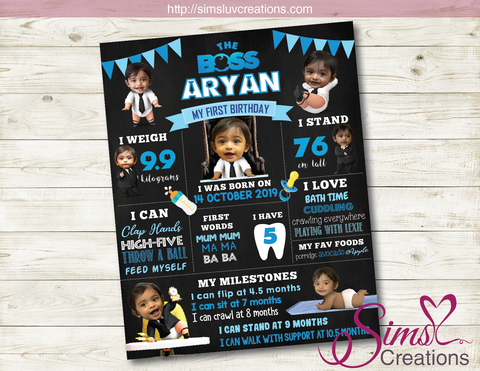 BOSS BABY BIRTHDAY CHALKBOARD | CUSTOMIZED BABY PHOTOS