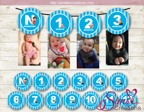 BOSS BABY THEME PRINTABLE MONTHLY PHOTO BANNER | FIRST BIRTHDAY MONTHLY PHOTO BADGES