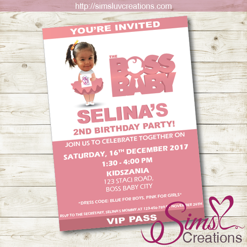 BOSS BABY GIRL BIRTHDAY INVITATION | BOSS BABY STACI PARTY INVITATION