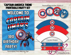 CAPTAIN AMERICA PARTY KIT | MARVEL AVENGERS SUPERHEROES PARTY PRINTABLES