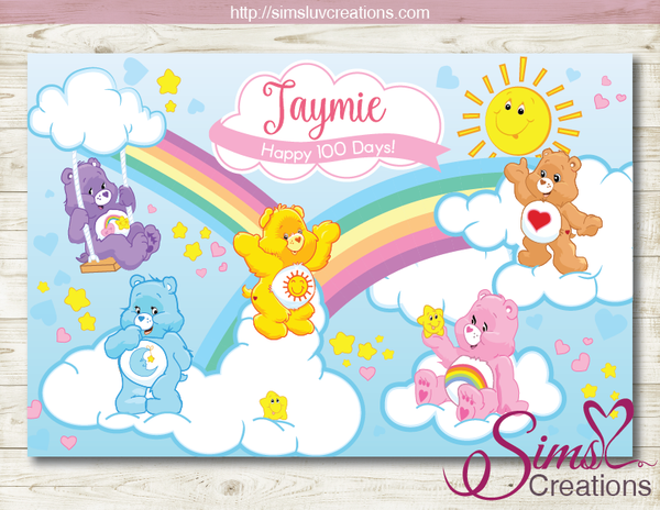 CAREBEARS PRINTABLE BACKDROP BANNER | CARE BEARS BIRTHDAY BACKDROP