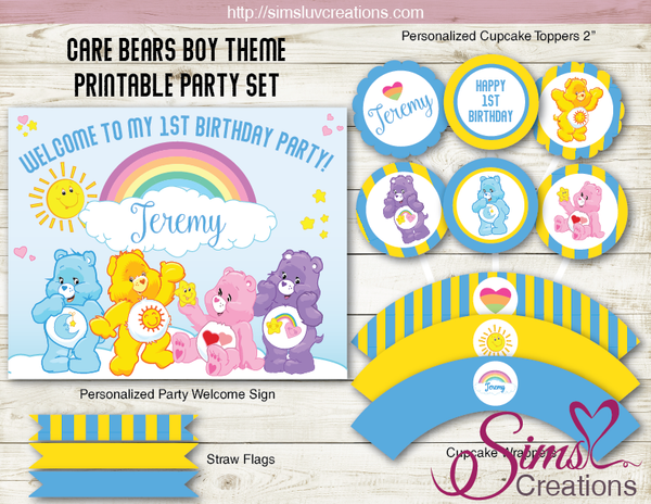 CARE BEARS THEME PARTY SUPPLIES | CAREBEARS PARTY PRINTABLES DECORATION KIT
