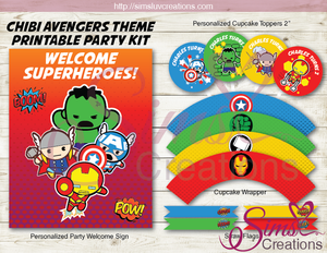 KAWAII MARVEL AVENGERS PARTY DECORATION KIT | CUTE CHIBI AVENGERS PARTY PRINTABLES
