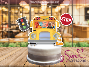 COCOMELON THE WHEELS ON THE BUS CAKE TOPPER | CAKE CENTERPIECE | CAKE DECORATIONS