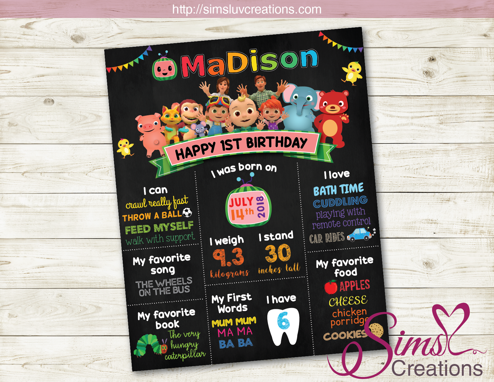 COCOMELON PARTY MILESTONE POSTER | BIRTHDAY CHALKBOARD | CUSTOM PHOTO