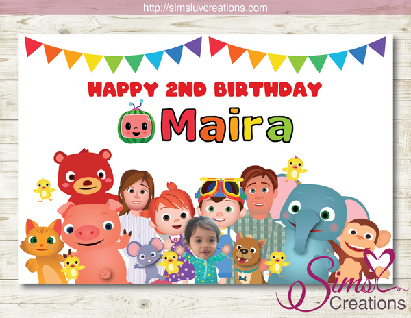 COCOMELON PRINTABLE PARTY BACKDROP BANNER | BIRTHDAY POSTER
