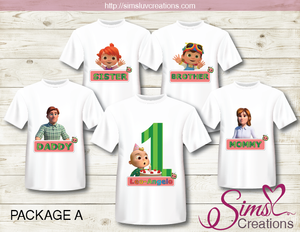 COCOMELON FAMILY T SHIRT IRON ON TRANSFER | DIGITAL FILE FOR COCOMELON T-SHIRTS
