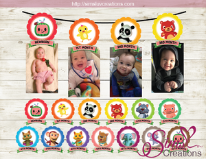 COCOMELON THEME PRINTABLE MONTHLY PHOTO BANNER | FIRST BIRTHDAY MONTHLY PHOTO BADGES