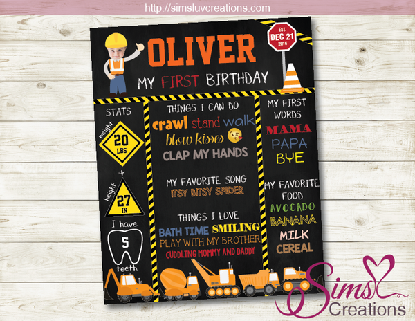 CONSTRUCTION THEME MILESTONE BOARD | CONSTRUCTION BIRTHDAY CHALKBOARD POSTER