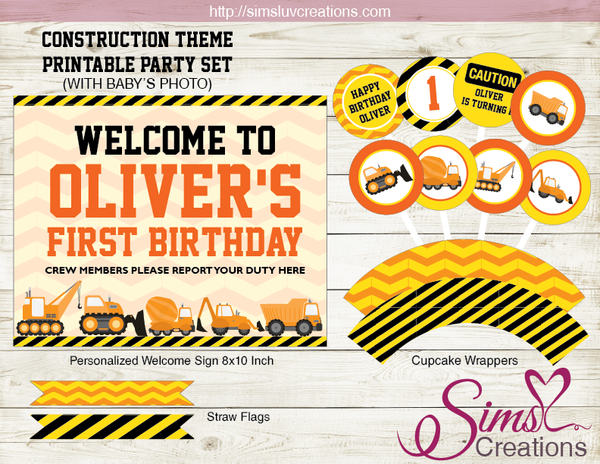 CONSTRUCTION PARTY PRINTABLES KIT | DUMP TRUCK BIRTHDAY DECORATION KIT