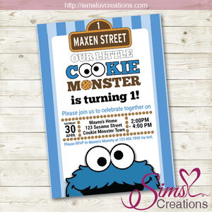 COOKIE MONSTER BIRTHDAY PRINTABLE INVITATION | SESAME STREET PARTY INVITATION