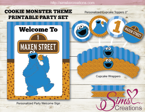 COOKIE MONSTER BIRTHDAY PARTY DECORATION KIT | SESAME STREET PARTY PRINTABLES