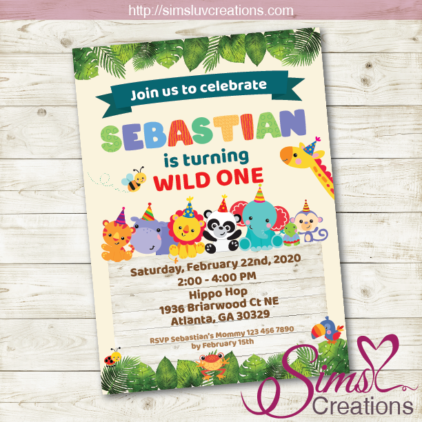 CUTE SAFARI ANIMALS BIRTHDAY PRINTABLE INVITATION | JUNGLE ANIMALS PARTY INVITATION