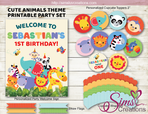 CUTE SAFARI ANIMALS PARTY PRINTABLE KIT | JUNGLE ANIMALS BIRTHDAY PARTY PRINTABLES