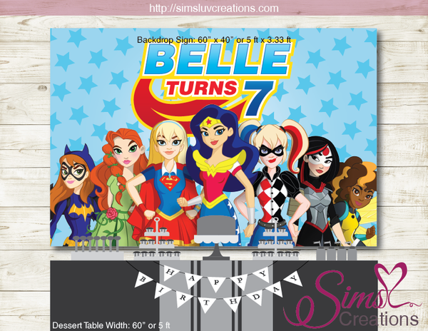 DC SUPERHERO GIRLS PRINTABLE PARTY BACKDROP BANNER | SUPER GIRLS BIRTHDAY POSTER