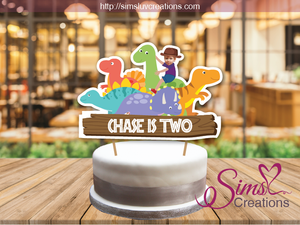 DINOSAUR CAKE TOPPER | CAKE CENTERPIECE | CAKE DECORATIONS | CUSTOM PHOTO