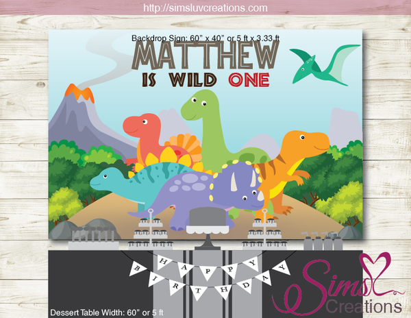 DINOSAUR PRINTABLE BIRTHDAY BACKDROP BANNER | CUSTOM PHOTO