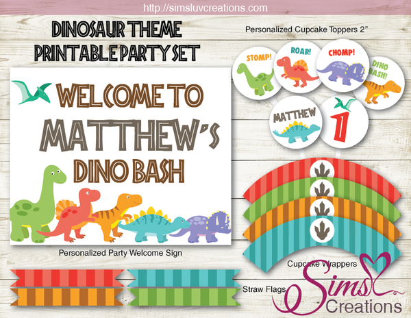 DINOSAUR BIRTHDAY PARTY DECORATION KIT | DINO BASH PARTY PRINTABLES